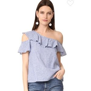 Madewell one shoulder ruffle blue striped top
